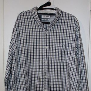 Express Men's Soft Wash XL Blue Grey Plaid